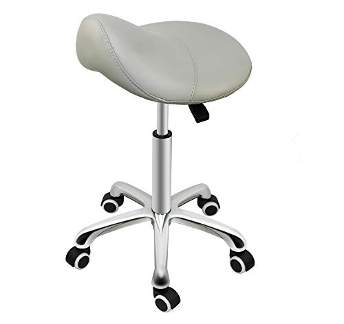 Grace & Grace Professional Saddle Stool Series Hydraulic Swivel Comfortable Ergonomic with Heavy Duty Metal Base for Clinic Dentist Spa Massage Salons Studio (Grey)
