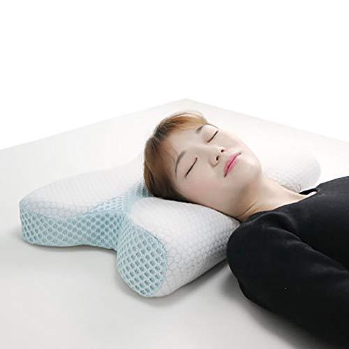 MRXUE geheugenschuimkussen, orthopedische vlindervleugels in de vorm van een vervixkussen voor nekpijnverlichting, zij- en rugslapers
