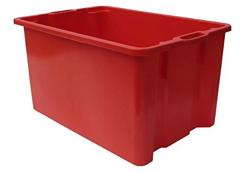 Mobil Plastic Cassa in plastica per alimenti sovrapponibile e impilabile capienza 65 litri con manici - colore Arancio