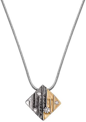 Perlkönig Kette Halskette | Damen Frauen | Quadrat in Schwarz Silber Gold | Glitzer Stein | Tricolor | Karabiner | Nickelabgabefrei