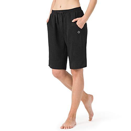 NAVISKIN Damen Bermuda Shorts leicht Joggingshorts atmungsaktiv Sportshorts weich Trainingsshort schnelltrocknend Laufshort schwarz Größe M(Schrittlänge:18cm)