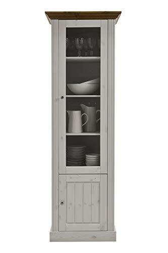 Steens Monaco Glasvitrine, 190 x 63 x 47 cm (B/H/T), Kiefer massiv, weiß provence