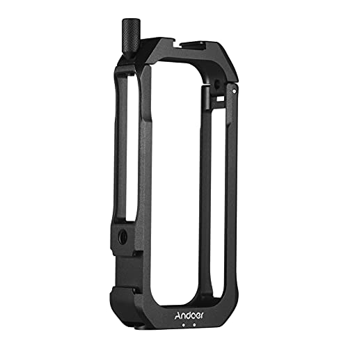 Action Camera Protective Cage Case, Andoer C-ONE X2 Protective Cage Case Action Camera Rig with Cold Shoe Mount Universal 1/4-inch Thread Magnetic Action Camera Mount for Insta360 ONE X2