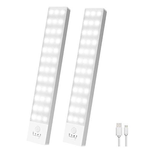 Luz Led Armario Magnética 36 LED,4 modos Luz Armario con Sensor de Movimiento,Luces LED Armario USB Recargable,800mA Luz Armario para Escaleras,Armario,Pasillo,Cocina, Gabinete,Garaje-2 Packs