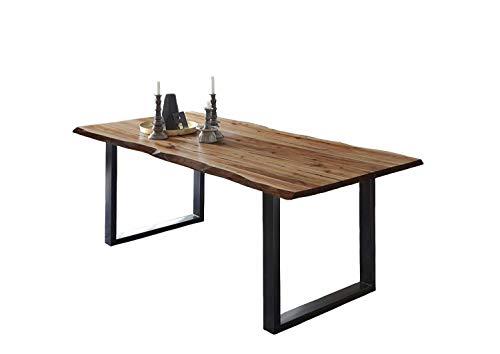 SAM Esszimmertisch 180x90 cm ULM, Baumkantentisch naturfarben, Akazienholz massiv, U-Gestell aus Metall schwarz