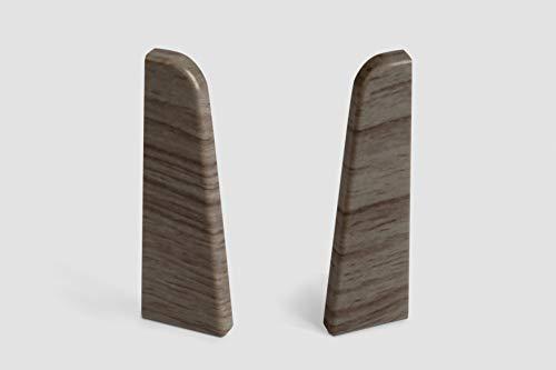 EGGER Endstück Sockelleiste Eiche anthrazit für einfache Montage von 60mm Laminat Fußleisten | Inhalt 2 Stück | Kunststoff robust | Holz Optik grau