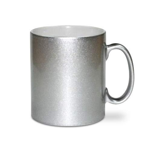Printbox Silber Metallic Effekt Tasse Becher für Sublimationsdruck 11oz, unbedruckt (6 Stück)
