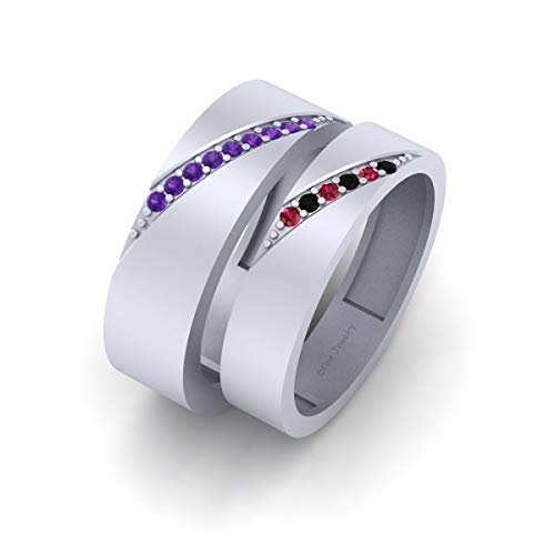 Multi Color CZ Joker and Harley Quinn Inspired Matching Wedding Band Set His and Her Solid 925 Sterling Silver