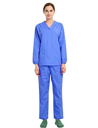 FEOYA Krankenhauskleidung Damen Schlupfjacke Damen Blau Pflege Kasack Damen Berufskleidung Schlupfkasack Set Schlupfjacke und Hose Uniformen Medizinische XL