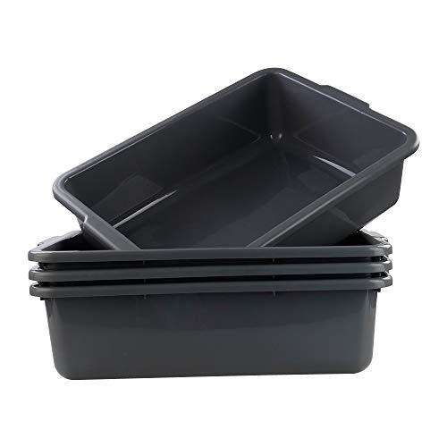 Joyeen Plastic Food Transport Bus Tub Set of 4 Gray Dishpan Wash Basin Box