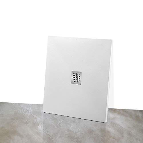 Yellowshop - Piatto Doccia Angolare Quadrato Marmoresina Effetto Pietra Bugnato Bianco, Dimensioni: 90X90 cm