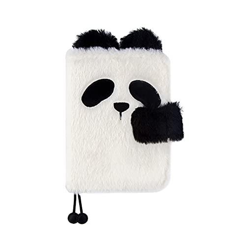 JJH Cute Panda A6 Planner Planeador Cuaderno Fluffy Funda, Diario de Diario de Animales exclusivos para Mujeres, niñas de Notas de planificación, Regalo de los niños (Color : A)