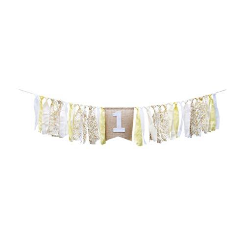 Amosfun 1e Verjaardag Banner Kinderstoel Banner jute Vintage Baby Douche 1e Verjaardag Decoraties voor Baby Douche Decoraties 200*17*20cm Afbeelding 1