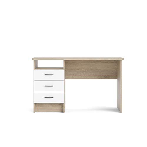 Function Plus Oak & White Finished Office Desk/Study Table with 3 Drawers