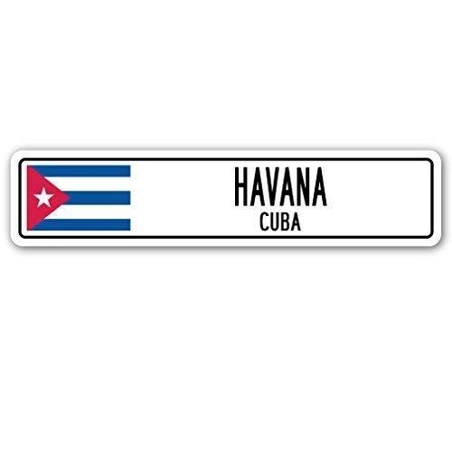 Metalen Straat bord Grappige Decoratieve Tekenen Havana Cuba Straat Teken Cubaanse Vlag Stad Land Weg Muur Gift Metalen Aluminium Teken voor Garages Woonkamer 16x4 inch