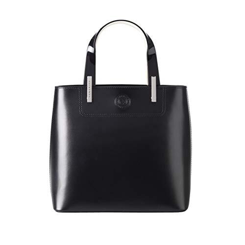 LAMARTHE PARIS - Sac à main en cuir élégant, sac fourre-tout design pour les femmes, avec sangle supplémentaire, y compris le sac à poussière, noir.