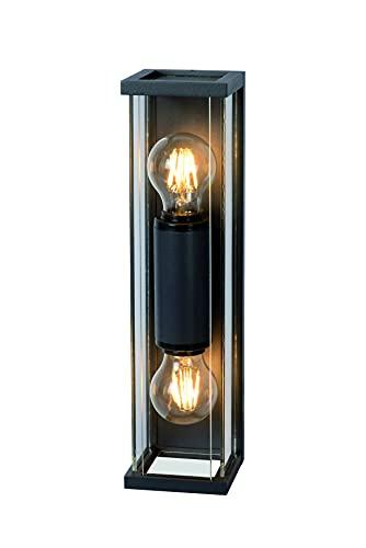 Mantra Iluminación. Modelo MERIBEL. Aplique de exterior rectangular de 36 cm de altura fabricado en aluminio y cristal acabado en color grafito