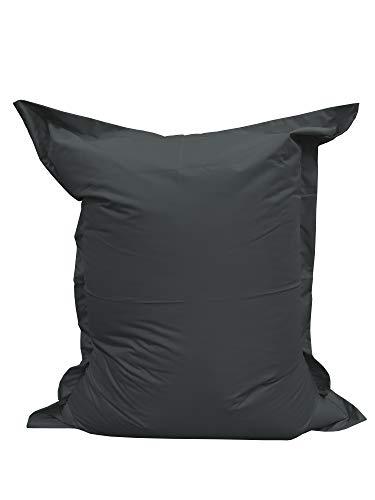 chilly pilley Sitzsack L XL XXL Bodenkissen Beanbag Styropor Füllung Riesensitzsack zum Liegen und Sitzen wasserdicht wasserabweisend (100x155, Schwarz)