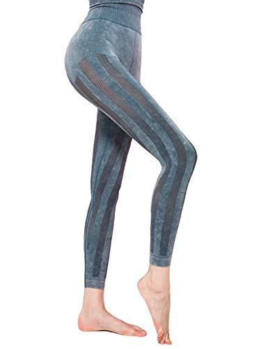 WOWENY Leggings Deporte Mujer Yoga Pantalones Mallas sin Costuras de Malla Cintura Alta Elásticos Fitness (azul, L)