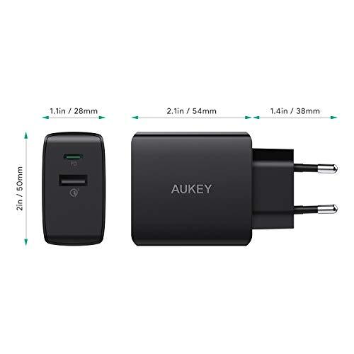 AUKEY USB C Ladegerät mit Power Delivery 2.0 & Quick Charge 3.0, 18 W USB Netzteil für iPhone XS/XS Max/XR, Google Pixel 2/2 XL, Samsung Galaxy S9+/ S8 / Note8 usw. (18W)
