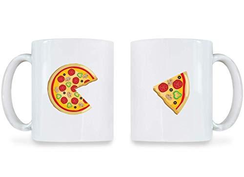 11 oz Mug Piece Pizza & Slice Funny Couple Mugs Set Matching Cups Valentine BFF