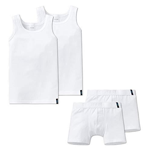 Schiesser Jungen Unterwäsche Set - 4-teilig (2X Unterhemd + 2X Shorts) (Weiß (100), 116 (4-5 Jahre))