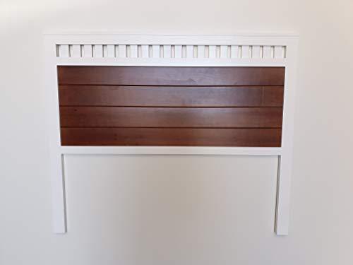 Muebles pejecar cabecero Modelo Bora para Cama de 135 Fabricado en Madera Maciza de Pino insigni Acabado Combinado Blanco Nogal