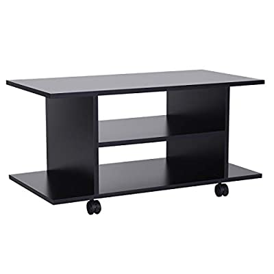HOMCOM Modern TV Cabinet Stand Storage Shelves Table Mobile Bedroom Furniture Bookshelf Bookcase Black New