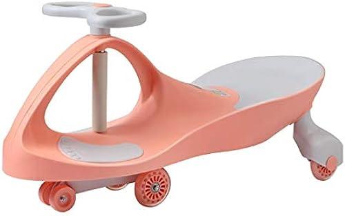 Kinder Twist Auto Flash Stumm Rad Schaukel Auto Roller 3-6 Jahre alt Spielzeugauto Xuan - worth having (Farbe   Cherry blossom powder, Größe   Mute wheel)