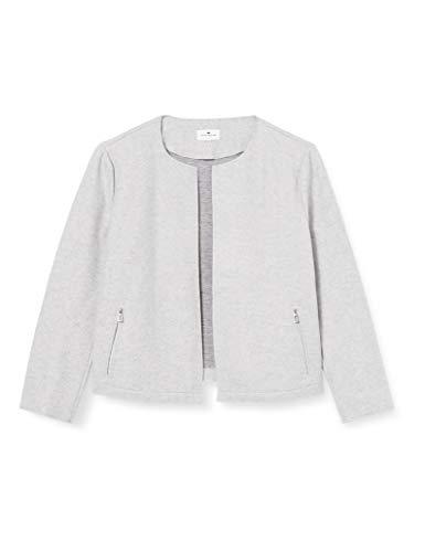 TOM TAILOR Damen Cosy Brushed Blazer, 11282-Silver Grey Melange, M