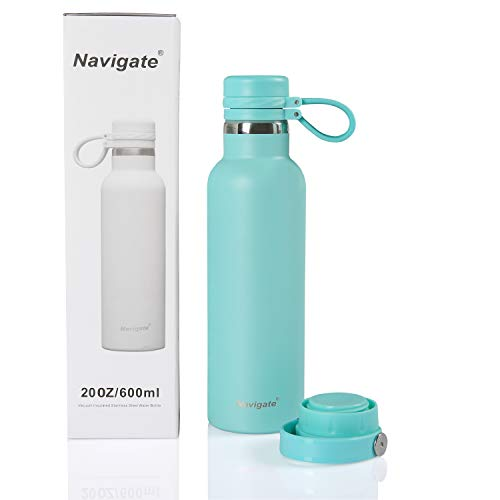 NAVIGATE Sports Stainless Steel Water Bottle, Wide Mouth,Double Walled Vacuum Insulated Water Flask |Keep Liquid Cold Or Hot,20 oz(600 ml) (Blue with Two caps)