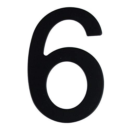 Número de calle en acero inoxidable negro mate, con dorso adhesivo, con una altura de 76 mm, número de casa, diseño de puerta (6)