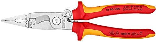 Knipex–Alicates de instalación eléctrica cuerda, longitud en mm: 208, 1pieza, 1396200T BK