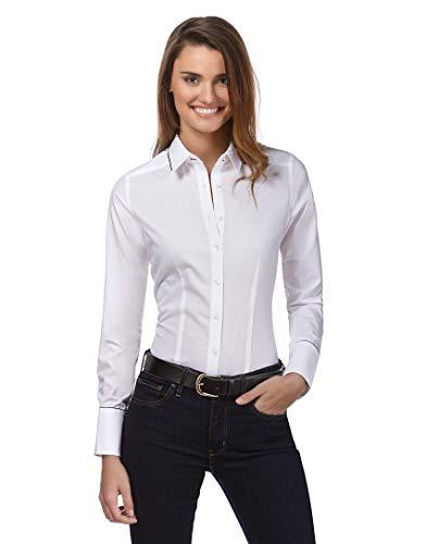Vincenzo Boretti Damen Bluse leicht tailliert 100% Baumwolle bügelleicht Langarm Hemdbluse elegant festlich Kent-Kragen auch für Business und unter Pullover weiß 34