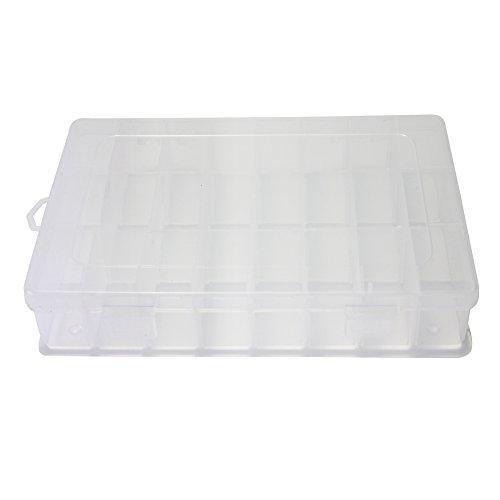 Boîte Stockage de Rangement Transparent Plastique 24 Compartiments pour Bijou