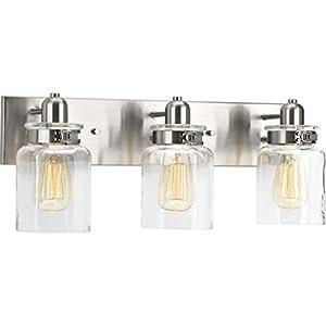 Calhoun Collection Brushed Nickel Three-Light Farmhouse Bath Vanity Light