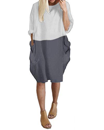 KIDSFORM Damska sukienka oversize z długim rękawem / krótkim rękawem tunika sukienka plus size koszula sukienka workowate kieszenie krótki sweter bluzka T-shirt