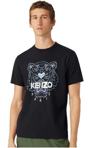 Kenzo Tiger - Camiseta para hombre, color negro y tigre azul, 100% algodón, talla pequeña) Negro M corto