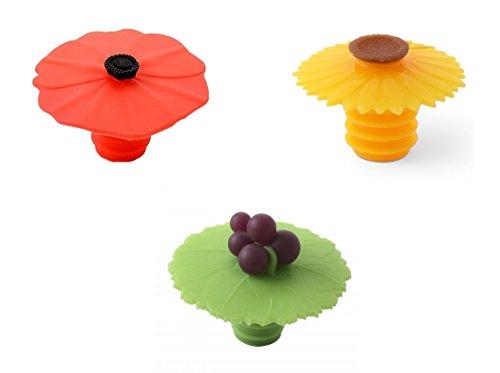 Charles Viancin–Tapa Tapón para botella, diseño de amapola, girasol y uva, juego de 3
