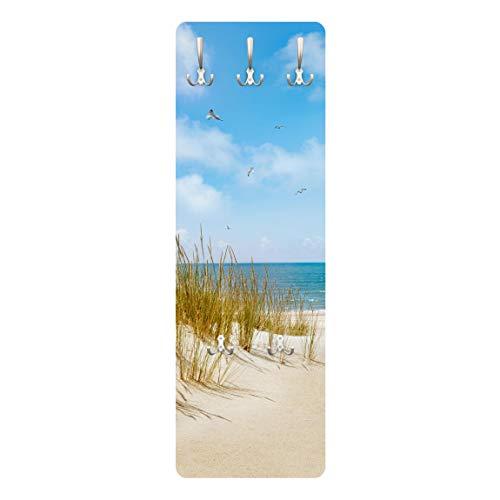 Bilderwelten Wandgarderobe + Haken Wandmontage Strand an der Nordsee Maritim 139 x 46 cm