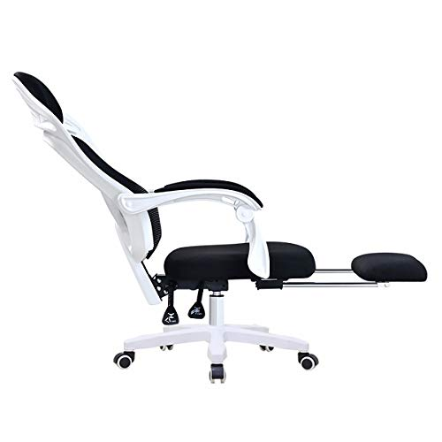 HSTD Gaming Chair, with Footrest Racing Style Highback Computer Chair, Height Adjustment Headrest and Lumbar Support E-Sports Swivel Chair White frame black net