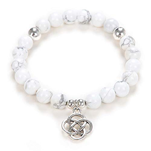 Yoga Beads Mala Bracelet Jewelry with Infinity Knot Celtic Charm for Men or Women (White Howlite)