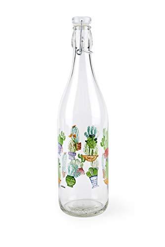 Excelsa Cactus - Botella de cristal transparente con decoraciones, capacidad de 1 litro
