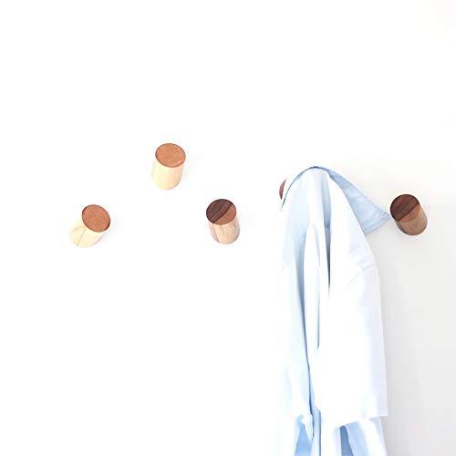 anaan One-Third Wandhaken Holz Garderobenhaken aus Massivholz Wanddeko Skandi Modern Φ5x6cm (2er Set Buche)