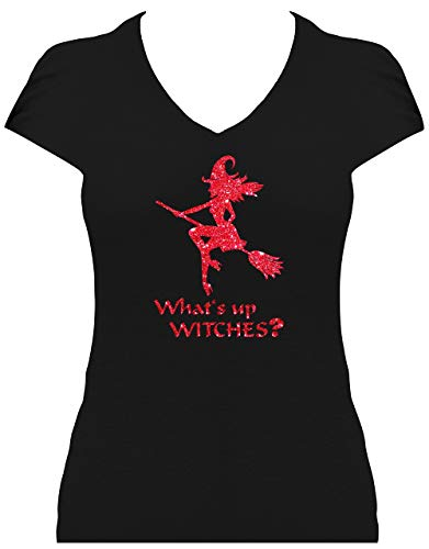 Blingelingshirts glitter shirt dames heks op bezem What's up Witches