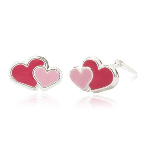 Sterling silver enamel double red and pink heart Andralok stud earrings/Gift box included