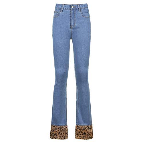 GuliriFe Damen hoch taillierte Hosen Retro Leoparden Saum weites Bein Jeans Jeans Baggy Hose E-Girl Streetwear (Blau, L)