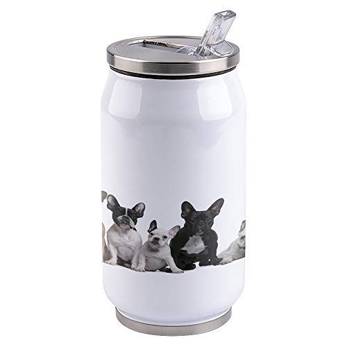 14oz Stainless Steel Tumbler with Lid & Straw-Double Wall Vacuum Insulated Travel Mug,French Bulldog Water Bottle Coffee Beverage Drinks Cup for Adults Kids