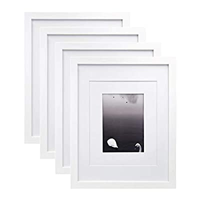 Egofine 11x14 Picture Frames 4 PCS White - Made of Solid Wood for Table Top and Wall Mounting for Pictures 8x10/5x7 with Mat Horizontally or Vertically Display Photo Frame White