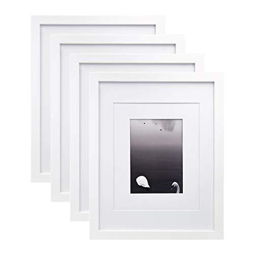 Egofine Bilderrahmen 28x36 cm 11x14 Inch 4 Stück weiß - aus Massivholz für den Tisch und Wand 20x25 cm/13x18 cm mit Passepartout
